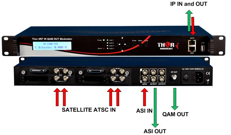 4 RF IN SATELITE/ATSC/QAM or ASI and QAM OUT MODULATOR