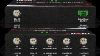 4 x Satellite L-Band LNB's + 1 CATV QAM / ATSC  RF over 1 fiber Transmitter F-SattGalaxy-TXRX-5 MDU Distribusion Solution
